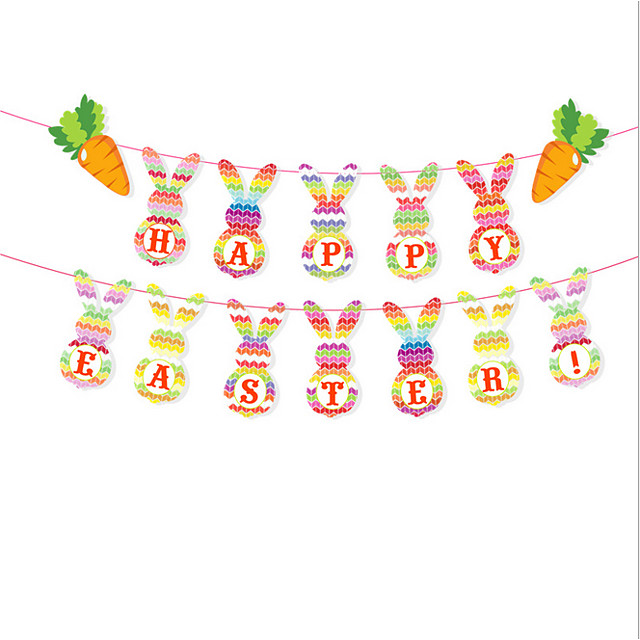 Happy Easter bunny egg Holiday Decorations hanging set
