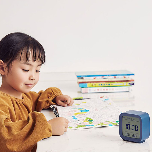 Bluetooth Thermometer Hygrometer LCD Screen Adjustable Nightlight Alarm Clock