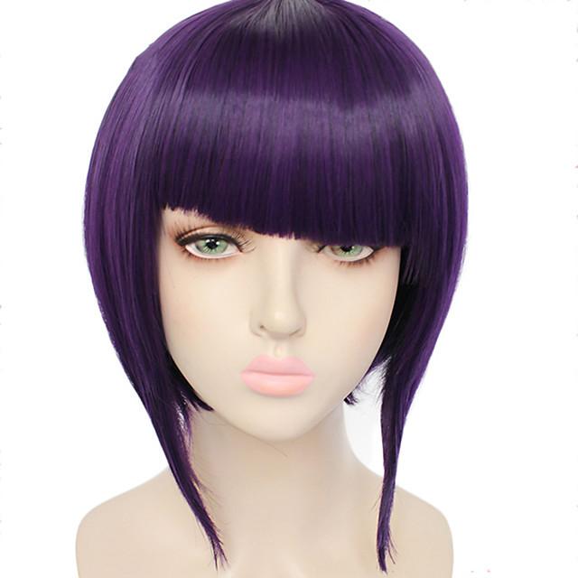 Cosplay Costume Wig Synthetic Wig Kyoka Jiro Straight Halloween Bob Neat Bang Wig Short Purple Synthetic Hair 10 inch Women's Purple
