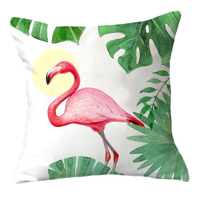 1 pcs Polyester Pillow Cover Flamingo Sofa Throw Pillow Fresh Countryside North Europe INS Piaochuang Waist Pillow Cartoon Cushion Headrest Girl Pillow Cover
