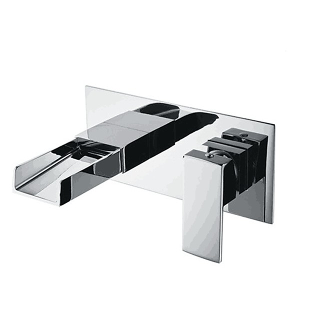 Bathroom Sink Faucet - Wall Mounted Contemporary Basin Mixer Tap Waterfall Chrome Water Tap