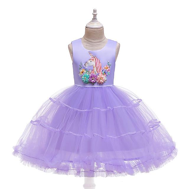Unicorn Dress Flower Girl Dress Girls' Movie Cosplay A-Line Slip Cosplay Purple / Pink / Light Blue Dress Halloween Carnival Masquerade Tulle Polyester