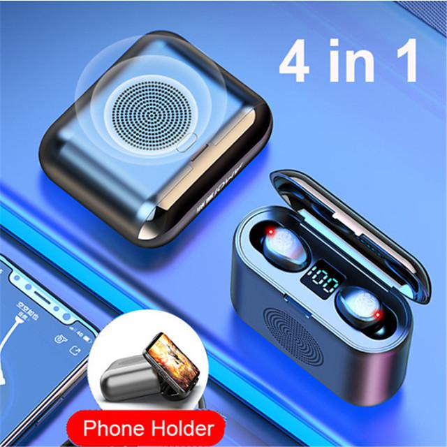 New True Wireless Bluetooth Earphone and Speaker 2 in 1 HD Stereo Wireless Headphones Mini Earbuds Bass Headset with 2000mAh Bin