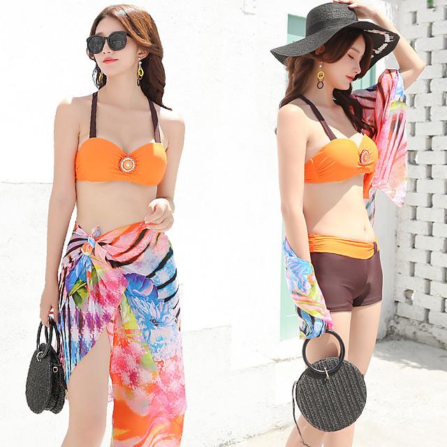Women's Tankini Elastane Swimwear UV Sun Protection Breathable Quick Dry Sleeveless 3-Piece - Swimming Water Sports Summer / High Elasticity
