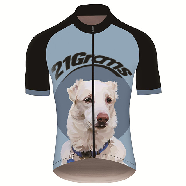 21Grams Men's Short Sleeve Cycling Jersey Black / Blue Dog Animal Bike Jersey Top Mountain Bike MTB Road Bike Cycling UV Resistant Breathable Quick Dry Sports Clothing Apparel / Stretchy / Race Fit