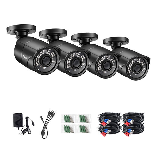 ZOSI 1080P HD AHD CVI TVI CVBS Analog 4-in-1 Outdoor Weatherproof IP67 Nightvision Black Bullet Camera H.265 Compression for CCTV SYSTEM DVR Kit