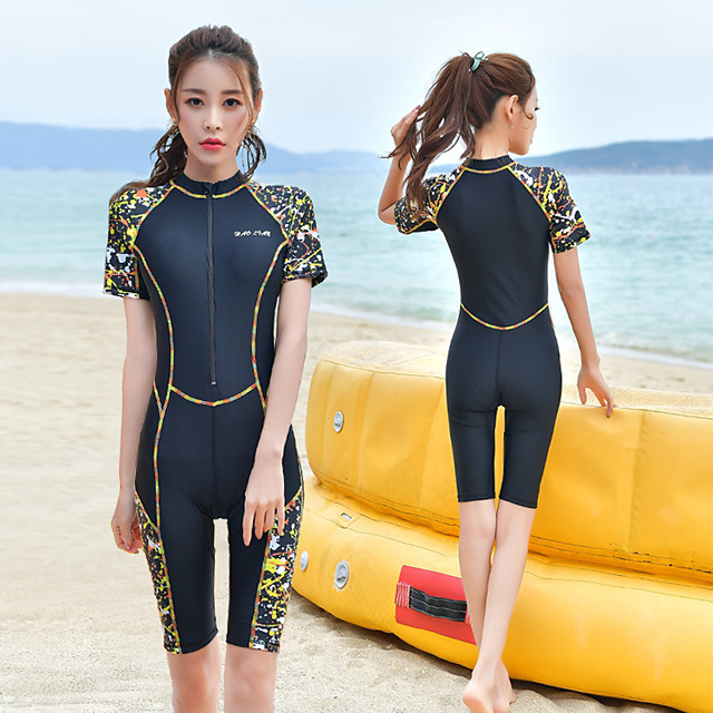 Women's Rash Guard Dive Skin Suit One Piece Swimsuit Elastane Swimwear UV Sun Protection Breathable Quick Dry Short Sleeve Swimming Surfing Water Sports Patchwork Autumn / Fall Spring Summer