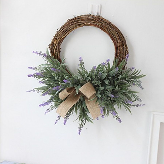 1 Piece Artificial Lavender Flowers Wreath Artificial Flower Garland European Wedding Imitation Flower Decor