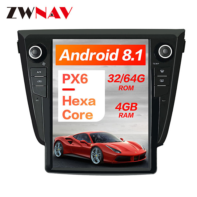 ZWNAV 10.4Inch 1DIN 4GB 64GB Android 8.1 Tesla style Car DVD Player GPS Navigation Car multimedia player radio head unit For NISSAN Qashqai 2013-2018