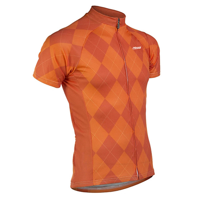 21Grams Men's Short Sleeve Cycling Jersey Spandex Polyester Red Grey Orange Plaid / Checkered Bike Jersey Top Mountain Bike MTB Road Bike Cycling UV Resistant Breathable Quick Dry Sports Clothing