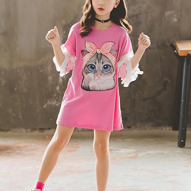 Παιδιά Κοριτσίστικα Κοντομάνικη μπλούζα Κοντομάνικο 3/4 Μήκος Μανικιού Γάτα Ζώο Πούλιες Κεντητό Λευκό Ανθισμένο Ροζ Παιδιά Άριστος Ενεργό Η Μέρα των Παιδιών