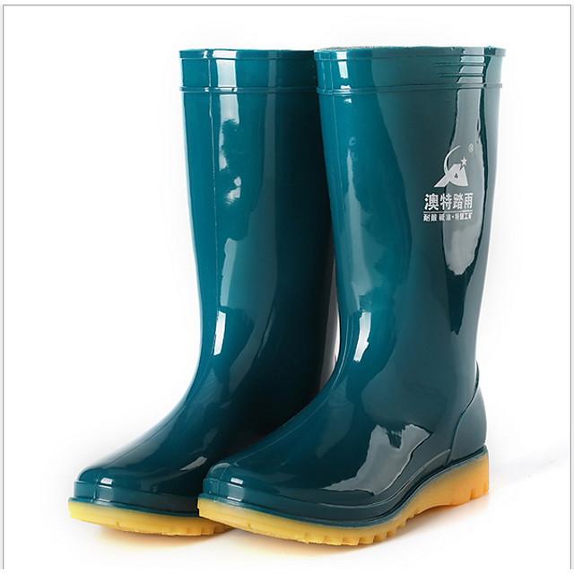 Women's Boots Flat Heel Round Toe PVC Mid-Calf Boots Winter Dark Green / Blue