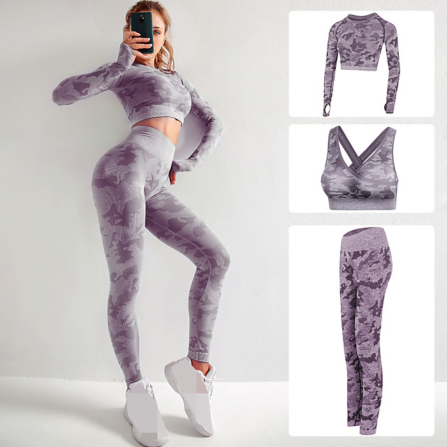 Women's Seamless Activewear Set Workout Outfits Yoga Suit Athletic Athleisure 3pcs Fall Long Sleeve High Rise Nylon Quick Dry Breathable Soft Fitness Gym Workout Running Jogging Sportswear Skinny