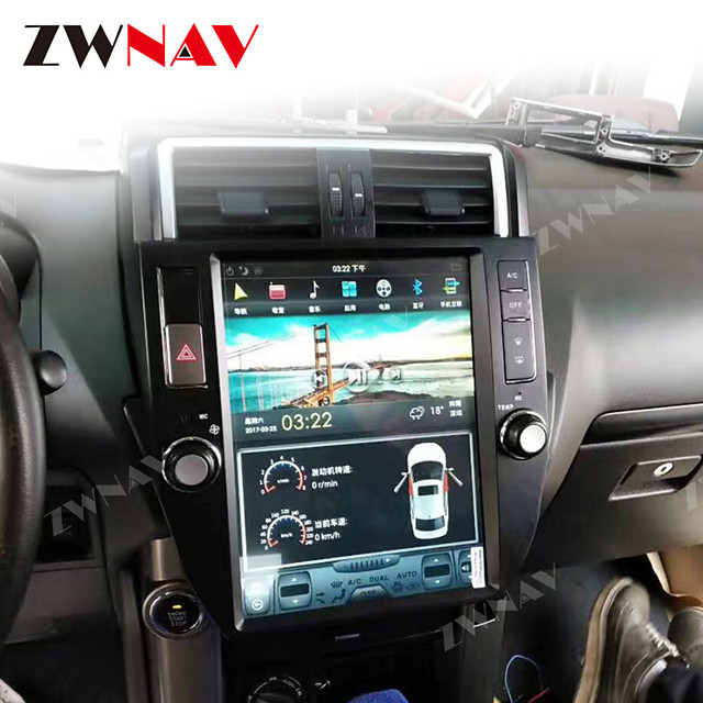 ZWNAV 10.4inch 1din PX6 Tesla style Android 8.1 Car GPS Navigation Car MP5 Player Car multimedia Player radio tape recorder For TOYOTA LAND CRUISER prado 2010-2013