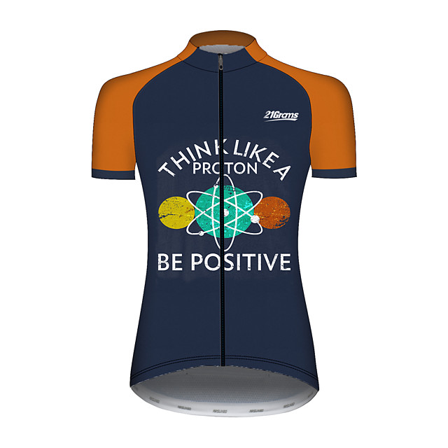 21Grams Women's Short Sleeve Cycling Jersey Blue / White Novelty Bike Jersey Top Mountain Bike MTB Road Bike Cycling UV Resistant Breathable Quick Dry Sports Clothing Apparel / Stretchy / Race Fit
