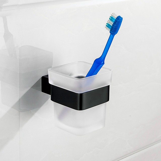 Mirror Polished Silver Toothbrush Holder Rustproof SUS304 Stainless Steel Matte Black Brush Holder Bathroom Accessories High Quality