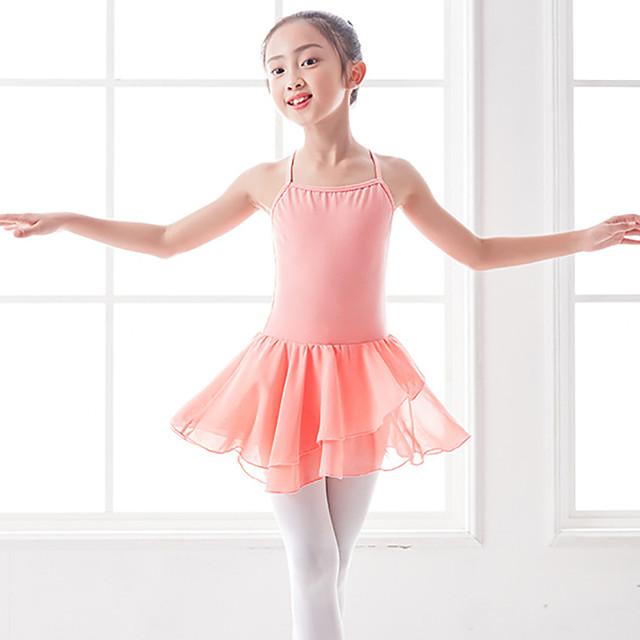 Ballet Dress Criss Cross Cascading Ruffles Split Joint Girls' Training Performance Sleeveless Natural Polyester / Cotton Blend Lycra