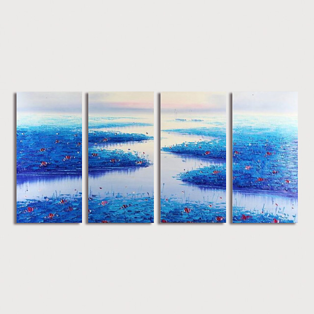 Hand Painted Canvas Oilpainting Abstract Landscape set of 4 by Knife Home Decoration with Frame Painting Ready to Hang