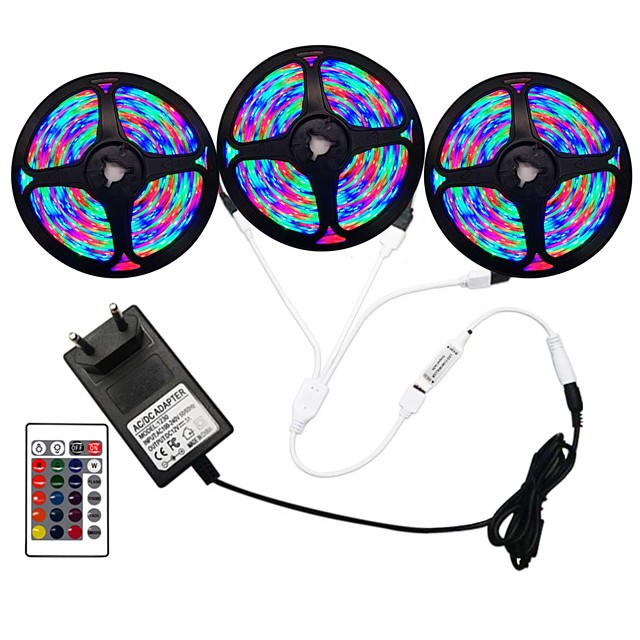 5m Flexible LED Strip Lights RGB Tiktok Lights Remote Controls 270 LEDs SMD3528 8mm 1 24Keys Remote Controller 1 x 2A Power Adapter 1 set RGB Change Christmas New Year's Indoor Decorative