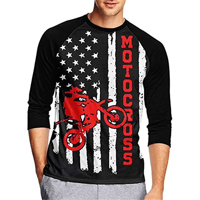 21Grams Men's Long Sleeve Cycling Jersey Downhill Jersey Dirt Bike Jersey Black / Red Stripes Stars National Flag Bike Jersey Top Mountain Bike MTB Road Bike Cycling UV Resistant Breathable Quick Dry