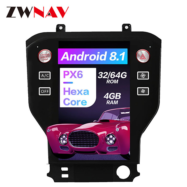 ZWNAV 11.8 inch Tesla Style Android 8.1 4GB 64GB Car Stereo Car GPS Navigation Car MP5 Player Car Multimedia Player World Maps Carplay SWC Bluetooth Voice Control WiFi HDMI for Ford Mustang 2015