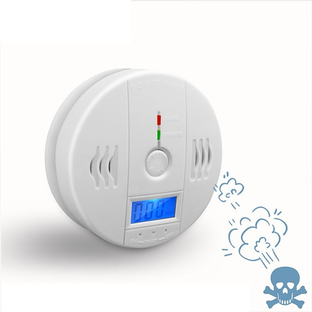 Independent Carbon Monoxide Sensor Detector CO Alarm with Digital LCD Display and 85dB Voice Warning Battery Operated