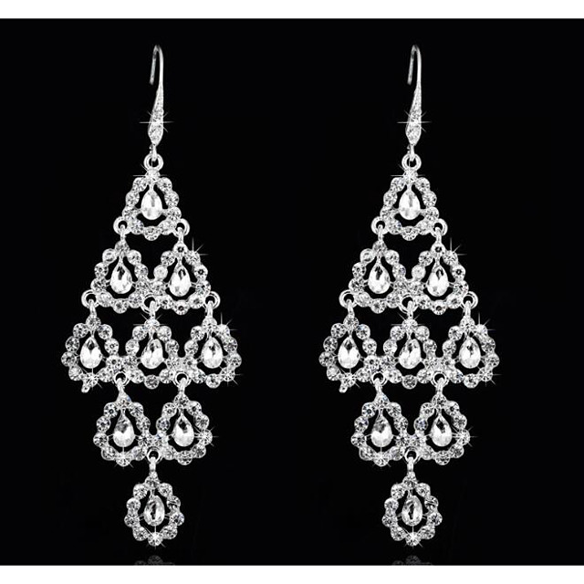 Women's Cubic Zirconia Drop Earrings Geometrical Love Sweet Imitation Diamond Earrings Jewelry White For Wedding Party 1 Pair
