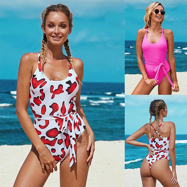 Women's One Piece Swimsuit Padded Swimwear Swimwear Fuchsia Red UV Sun Protection Breathable Quick Dry Sleeveless - Swimming Water Sports Summer / Elastane / High Elasticity