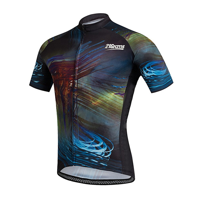 21Grams Men's Short Sleeve Cycling Jersey Black / Blue Stripes Novelty Bike Jersey Top Mountain Bike MTB Road Bike Cycling UV Resistant Breathable Quick Dry Sports Clothing Apparel / Stretchy