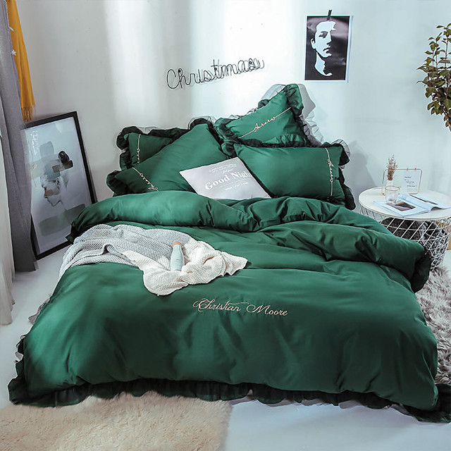 Goddess Small Money Lace Decorative Quilt Cover Embroidery Four Piece Bedding Dark Green