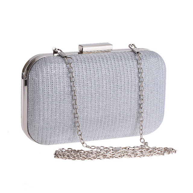 Women's Chain Polyester Evening Bag Solid Color Black / Silver / Light Gold