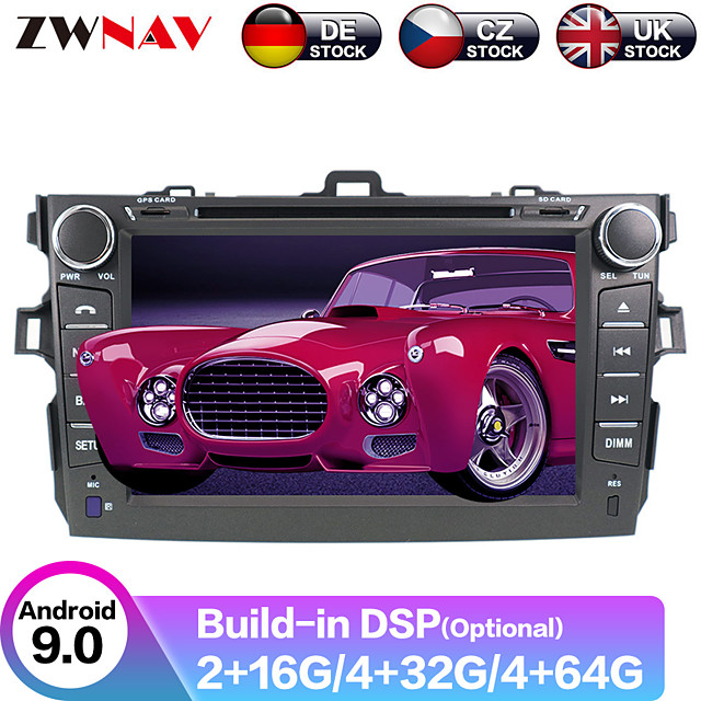 ZWNAV 8inch 2din PX5/6 Android 9.0 4GB 64GB Car DVD Player Car GPS Navigation Car multimedia player Car MP5 Player radio tape recorder For Toyota Corolla 2007-2013