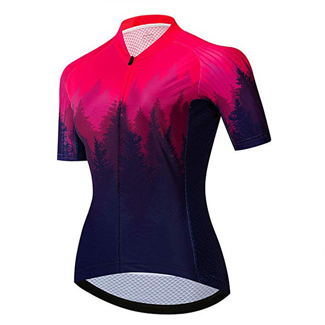 21Grams Women's Short Sleeve Cycling Jersey Black / Red Gradient Bike Jersey Top Mountain Bike MTB Road Bike Cycling UV Resistant Breathable Quick Dry Sports Clothing Apparel / Stretchy / Race Fit