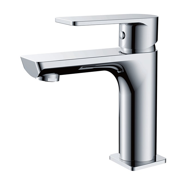 Bathroom Sink Faucet - Standard Chrome Centerset Single Handle One HoleBath Taps