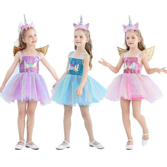 Unicorn Dress Girls' Movie Cosplay Cosplay Costume Party Purple / Pink / Blue Dress Tulle Sequin Polyster