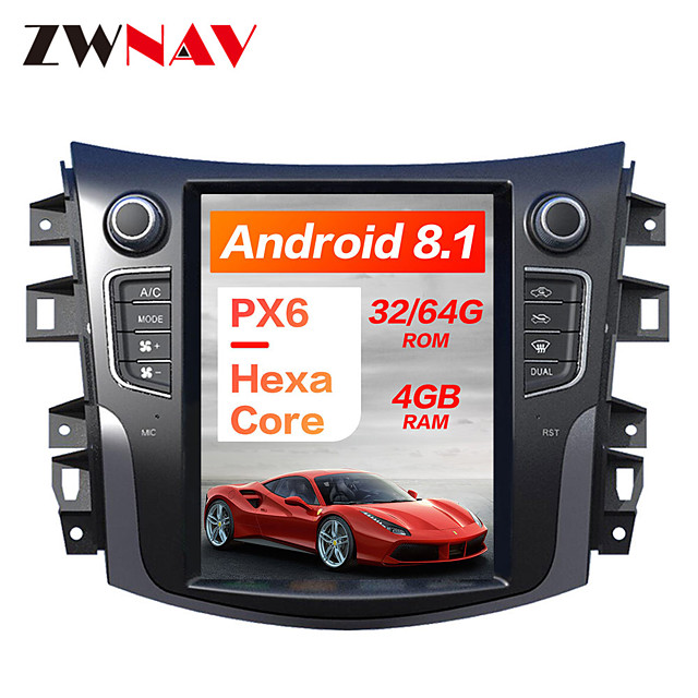 ZWNAV 10.4inch 1din 4GB 64GB Tesla style Android 8.1 Car GPS Navigation Car multimedia Player CAR DVD player For NISSAN NP300 Navara 2014
