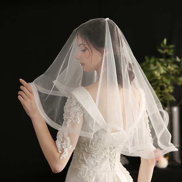 Two-tier Sweet / Vintage Inspired Wedding Veil Shoulder Veils with Solid Tulle / Drop Veil