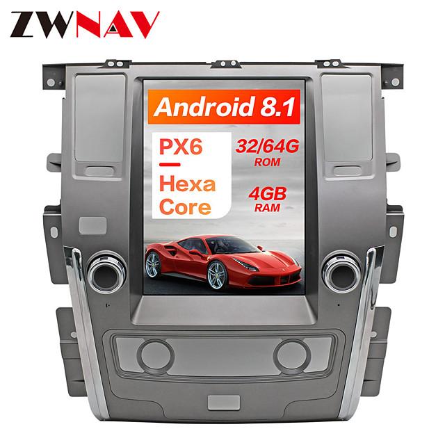 ZWNAV 12.1inch 1DIN Android 8.1 4GB 64GB Tesla style PX6 Car GPS Navigation Car multimedia player Car MP5 Player For NISSAN PATROL 2010