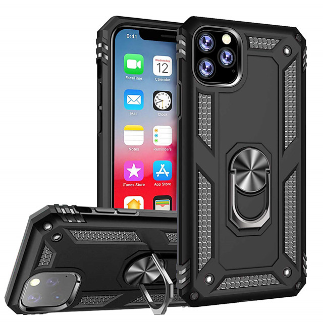 Case For Apple iPhone 11 / iPhone 11 Pro / iPhone 11 Pro Max Shockproof / Ring Holder Back Cover Solid Colored TPU / PC / Metal