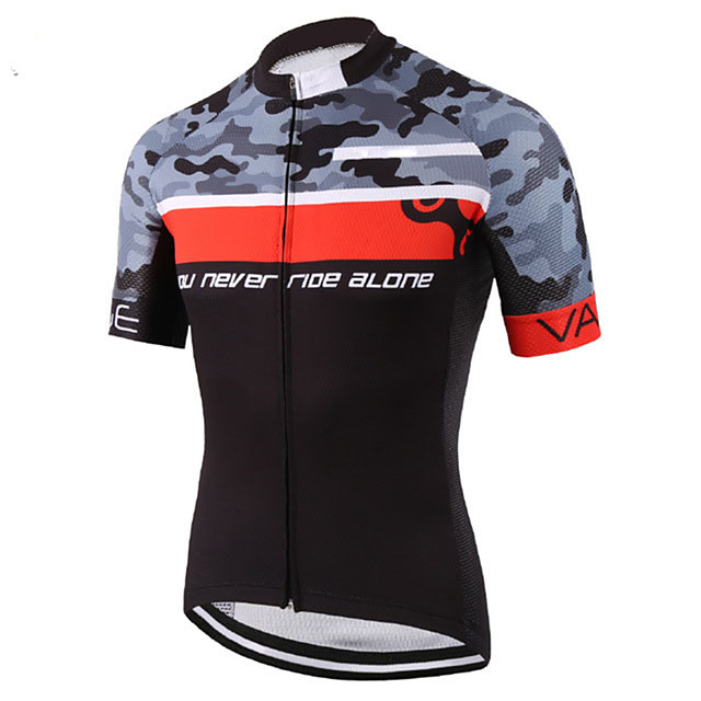 21Grams Men's Short Sleeve Cycling Jersey Black / Red Camo / Camouflage Bike Jersey Top Mountain Bike MTB Road Bike Cycling UV Resistant Breathable Quick Dry Sports Clothing Apparel / Stretchy