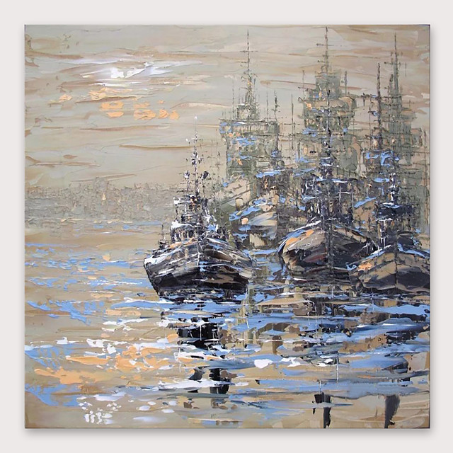 IARTS®Hand Painted Ships at dusk Oil Painting   with Stretched Frame For Home Decoration