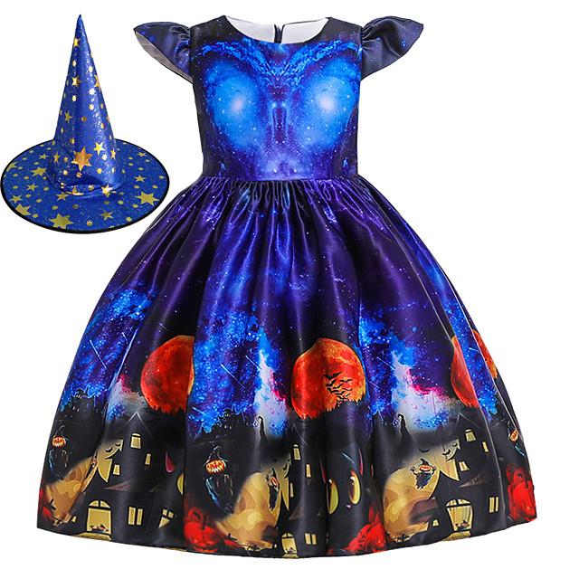 Witch Princess Dress Flower Girl Dress Girls' Movie Cosplay A-Line Slip Halloween Blue Dress Cap Halloween Children's Day Polyester / Cotton Blend Polyster / Cap Sleeve