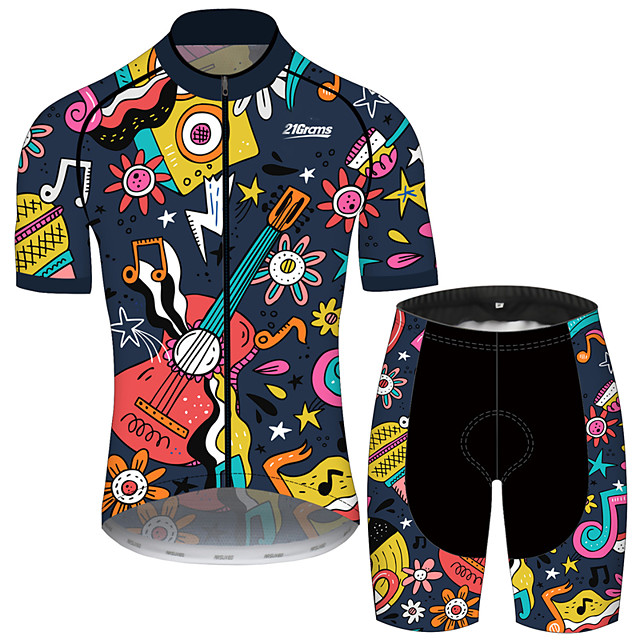 21Grams Men's Short Sleeve Cycling Jersey with Shorts Black / Yellow Floral Botanical Bike Clothing Suit UV Resistant Breathable 3D Pad Quick Dry Sweat-wicking Sports Floral Botanical Mountain Bike