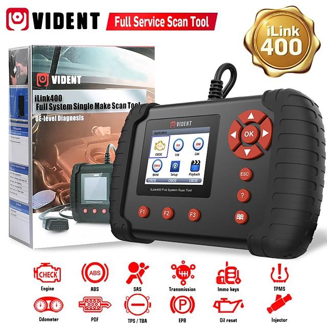 VIDENT iLink400 Full System Scan Tool Single Make Support ABS/SRS/EPB/DPF Regeneration/Oil Reset OBD2 Automotive Scanner Code Reader Professional Car Diagnostic Tool OBD2 Scanner