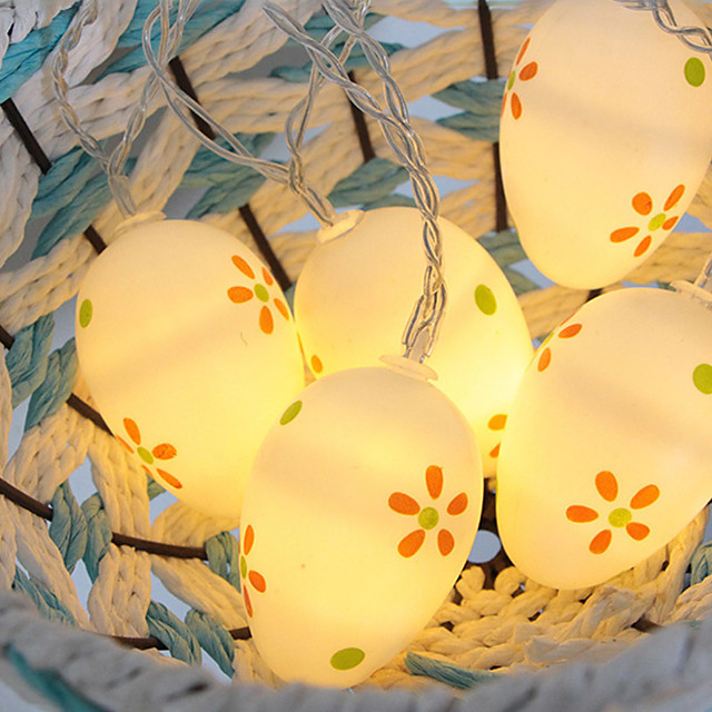 Easter Egg Color Warm White Light String Indoor Transparent Line 1.5M 10LED Without Battery
