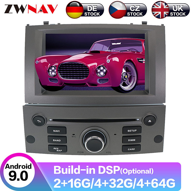ZWNAV 7inch 2din Android 9.0 4GB 64GB Car DVD CD Player GPS navigation Auto Car multimedia player radio tape recorder For Peugeot 407 2004-2006