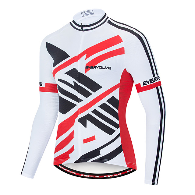 EVERVOLVE Men's Long Sleeve Cycling Jersey Black / White Stripes Geometic Bike Jersey Top Mountain Bike MTB Road Bike Cycling Breathable Quick Dry Sweat-wicking Sports Clothing Apparel / Advanced