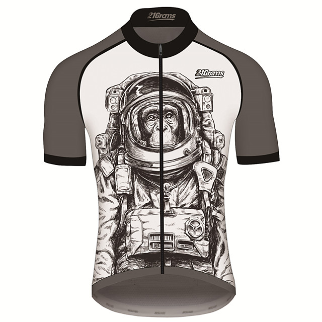 21Grams Men's Short Sleeve Cycling Jersey Gray+White Animal Astronaut Monkey Bike Jersey Top Mountain Bike MTB Road Bike Cycling UV Resistant Breathable Quick Dry Sports Clothing Apparel / Stretchy
