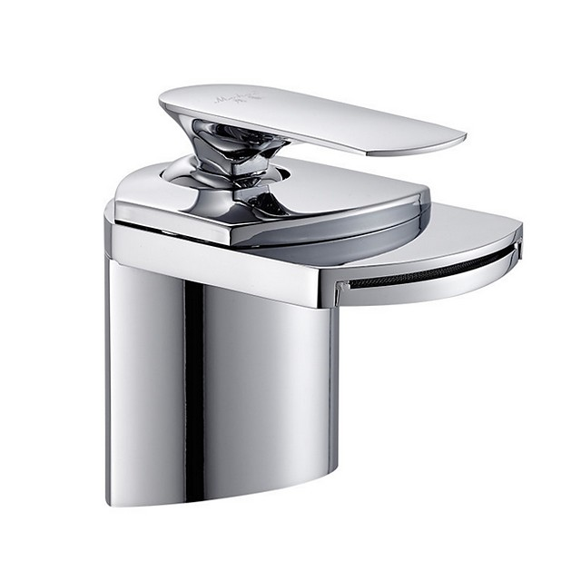 Bathroom Sink Faucet - Standard / Waterfall Electroplated Centerset Single Handle One HoleBath Taps