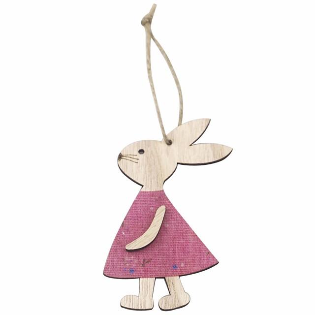 Happy Easter bunny egg Holiday Decorations wood decorative set